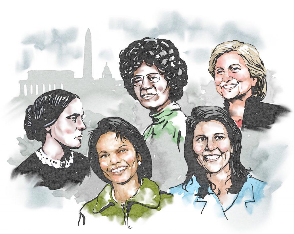 Desde la izquierda, Susan B. Anthony, Condoleezza Rice, Shirley Chisholm, Nikki Haley y Hillary Clinton.