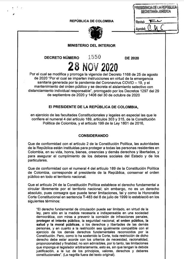 Decreto del 28 de noviembre emitido por el Gobierno Nacional